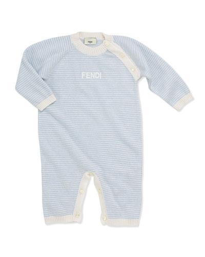 Fendi Baby Boys' Stripe Knit Coverall, Blue, NB-9 Months