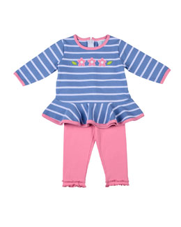 Florence Eiseman Pink On Blue Tunic & Legging Set, 3-9 Months