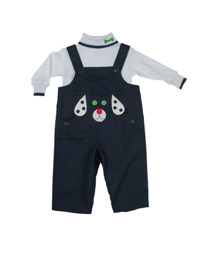 Florence Eiseman Dog-Applique Twill Overalls, Navy, 12-24 Months