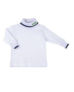 Florence Eiseman Dog Bone Turtleneck, White/Navy, 12-24 Months