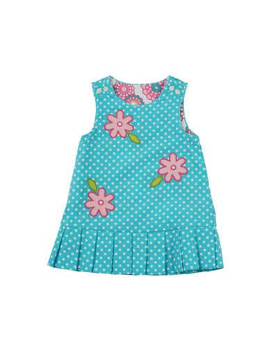 Florence Eiseman Reversible Floral Corduroy Dress, 12-24 Months