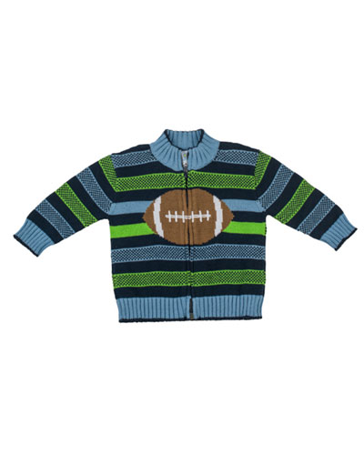Florence Eiseman Good Sport Intarsia Zip Sweater, Multi, 12-24 Months