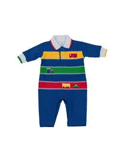 Florence Eiseman Fix It Pique Coverall, Royal, 12-24 Months