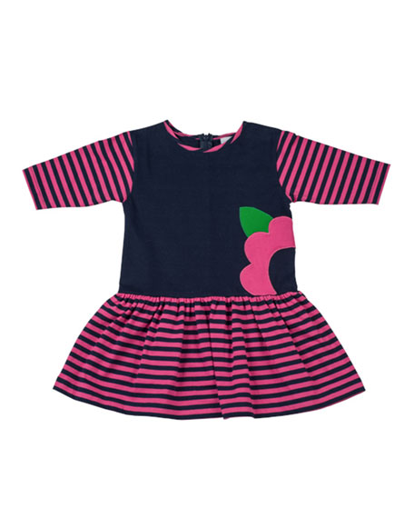 Striped Fit-and-Flare Dress, Navy/Fuchsia, Sizes 4-6X
