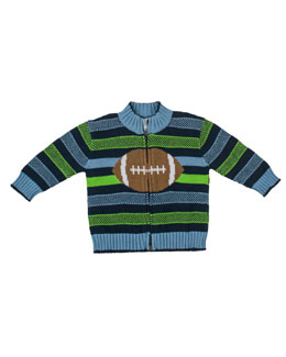Florence Eiseman Good Sport Intarsia Zip Sweater, Multi, 2T-4T
