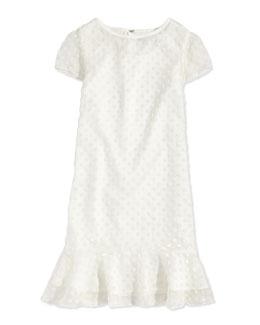 Velvet Polka-Dot Flounce Dress, Off White, Sizes 2-4