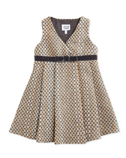 Armani Junior Tweed V-Neck Dress, Brown, Size 2-8