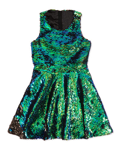 Milly Minis Hologram Sequined Dress, Iridescent Blue, Sizes 8-14