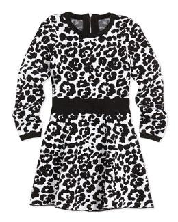 Cheetah-Print Flare Dress, Black/White, Sizes 2-7