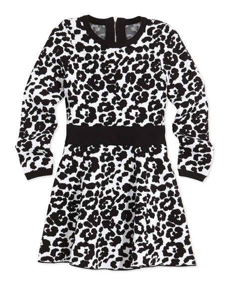 Milly Minis Cheetah-Print Flare Dress, Black/White, Sizes 2-7