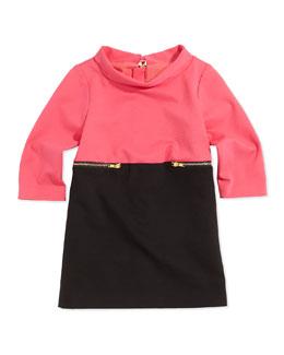 Colorblock Zip-Detail Dress, Candy/Black, Girls' 8-14