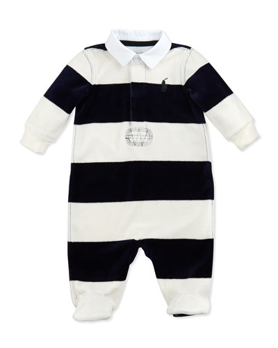 Ralph Lauren Childrenswear Striped Velour Rugby Coverall, Multi, 3-9 Months