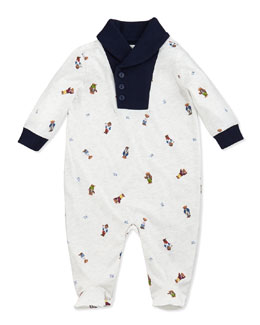 Ralph Lauren Childrenswear Shawl-Collar Bear-Print Coverall, 3-9 Months