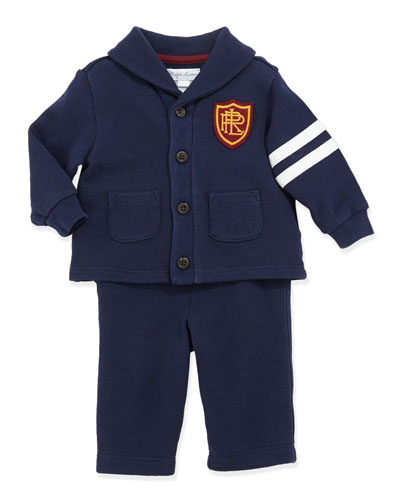 Ralph Lauren Childrenswear Shawl-Collar Fleece Hookup Set, French Navy, 3-24 Months