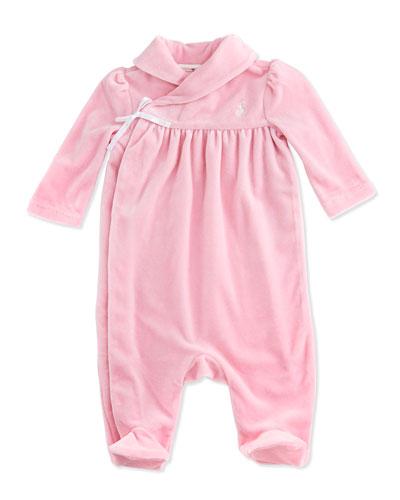 Ralph Lauren Childrenswear Shawl-Collar Velour Coverall, Pink, 3-9 Months