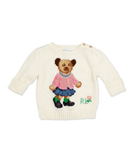 Ralph Lauren Childrenswear Girls' Intarsia-Knit Bear Sweater, 3-12 Months