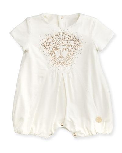 Versace Medusa-Logo Shortall, White/Gold, 12-24 Months