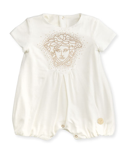 Versace Medusa-Logo Shortall, White/Gold, 3-9 Months