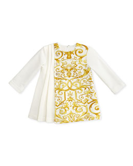 Versace Pleated Dress with Baroque-Print, 3-9 Months
