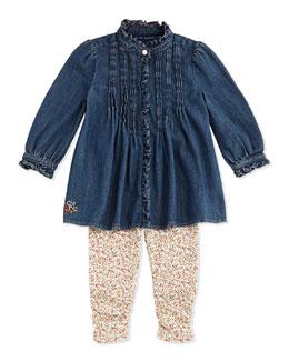 Ralph Lauren Childrenswear Denim Top & Floral-Leggings Set, 9-24 Months