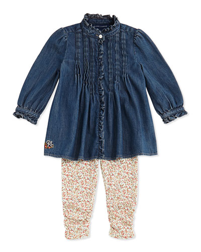 Ralph Lauren Childrenswear Denim Top & Floral-Leggings Set, 9-24 Months