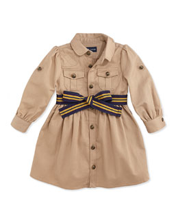 Ralph Lauren Childrenswear Long-Sleeve Belted Twill Dress, Vintage Khaki, 9-24 Months
