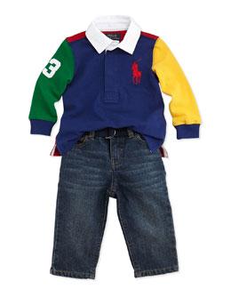 Ralph Lauren Childrenswear Long-Sleeve Rugby Jersey & Jeans Set, Green Multi, 9-24 Months