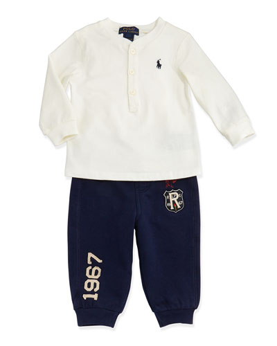 Ralph Lauren Childrenswear Rugby Henley & Pants Set, 9-24 Months