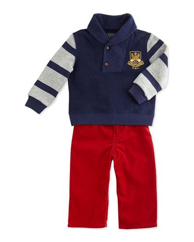 Ralph Lauren Childrenswear Shawl-Collar Sweatshirt & Pants Set, 9-24 Months