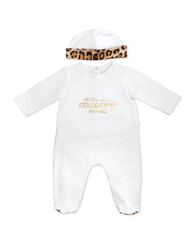 Roberto Cavalli Newborn Two-Piece Gift Set, White/Leopard Print