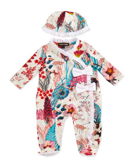 Roberto Cavalli Newborn Two-Piece Gift Set, Floral