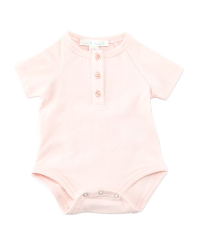 Marie Chantal Angel Wing Short-Sleeve Bodysuit, Pink, 0-18 Months