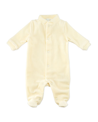Marie Chantal Angel Wing Velour Sleepsuit, Cream/Gold, 0-18 Months