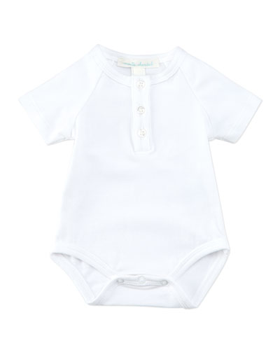 Marie Chantal Angel Wing Short-Sleeve Bodysuit, White, 0-18 Months
