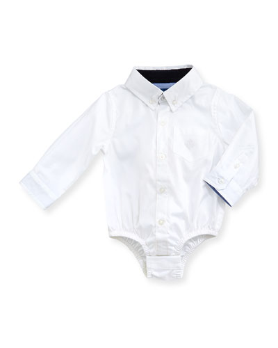 Andy & Evan Oxford Shirtzie Bodysuit, White, 3-24 Months