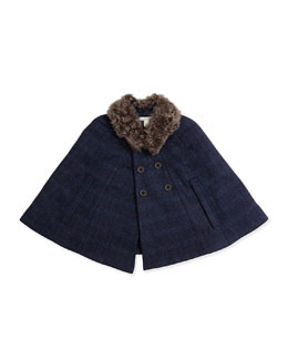 Faux-Fur-Collar Wool Cape