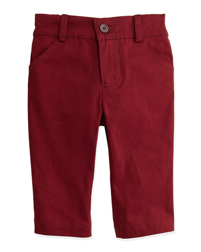 Andy & Evan Twill Trousers, Red, 3-24 Months