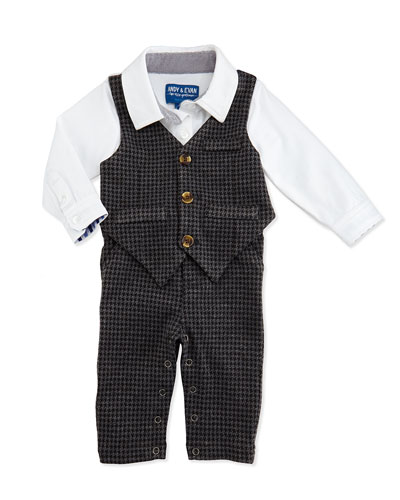 Andy & Evan One-Piece Houndstooth Vest & Pants Set, 3-12 Months