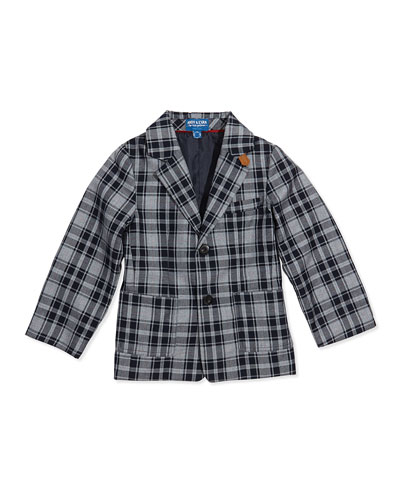Andy & Evan Plaid Twill Two-Button Blazer, Blue, Sizes 2T-7