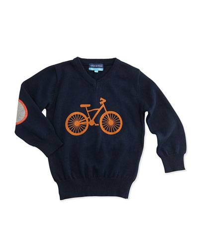 Andy & Evan Bicycle V-Neck Sweater, Navy, 2T-7Y