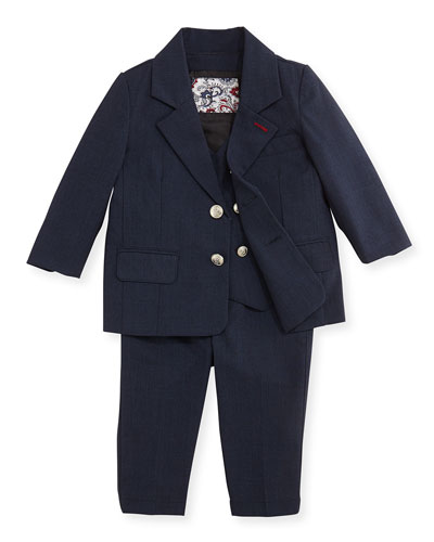 Andy & Evan Three-Piece Suit, Navy, 2T-7Y