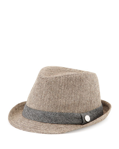 Andy & Evan Monte Carlo Boys' Houndstooth Fedora, Brown, 2T-7Y