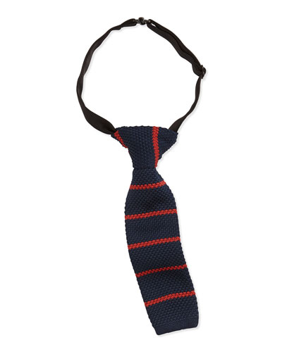 Andy & Evan Striped Knit Tie, Navy
