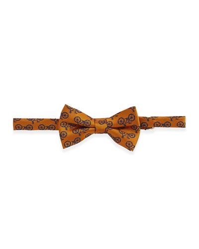 Andy & Evan Bicycle-Print Bow Tie, Orange