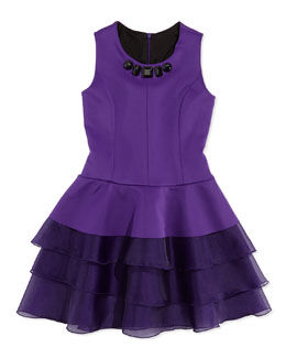 Ruffle-Tiered Jewel-Detailed Scuba Dress, Sizes 2-6X
