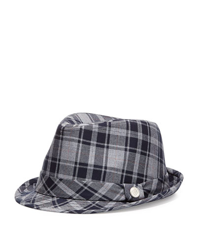 Andy & Evan Monte Carlo Plaid Fedora, Blue, 2T-7Y