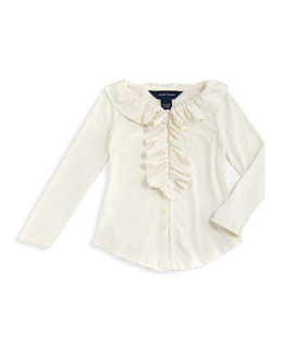 Ralph Lauren Childrenswear Ruffled Knit Blouse, Essex Cream, 2T-3T