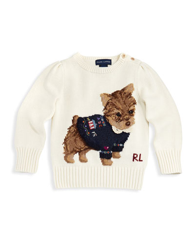 Ralph Lauren Childrenswear Intarsia-Knit Dog Sweater, Sizes 4-6X
