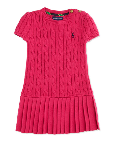 Cable-Knit Short-Sleeve Sweaterdress, Currant, Sizes 4-6X