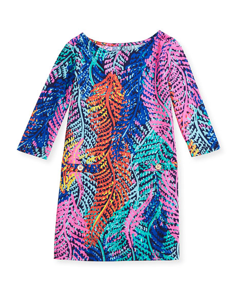 Little Charlene Printed Jersey Dress, Bright Navy, S-XL